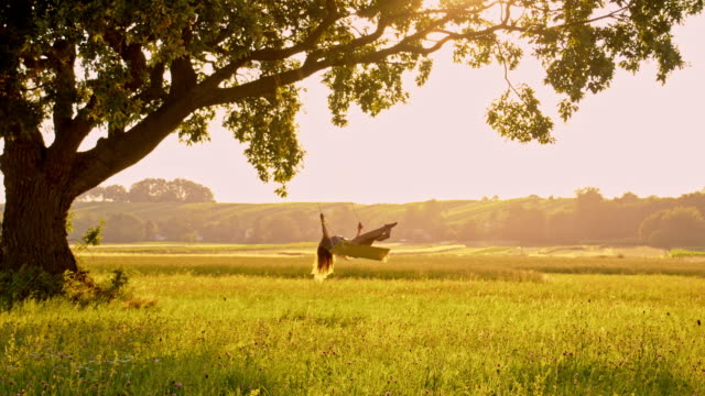 SLO MO Woman swinging on tree swing at sunset