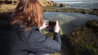 A woman taking pictures at the beach, Mornington Peninsula, Victoria, Australia