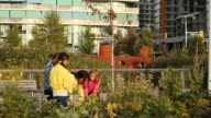 Woman teaching three girls how to garden in a city setting
