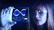 Woman the scientist is analysing structure DNA.