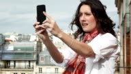 Woman Travelling Alone Selfie Paris Panorama HD MONTAGE