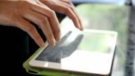 Woman typing on virtual keyboard,Dolly shot