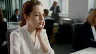 Woman under stress at work. Corporate business