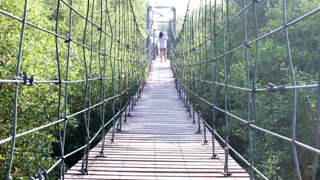 Woman Walk and See View on Suspension Bridge