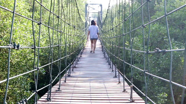Woman Walk on Suspension Bridge