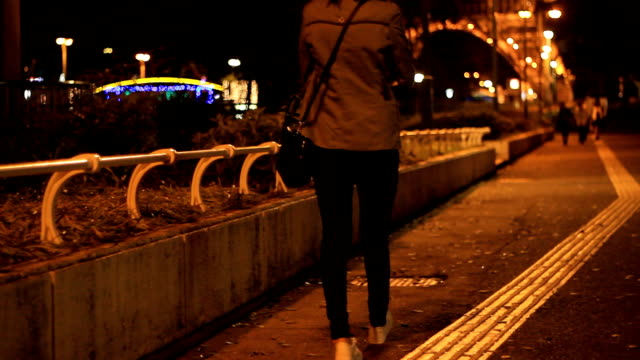 woman walking alone in street night