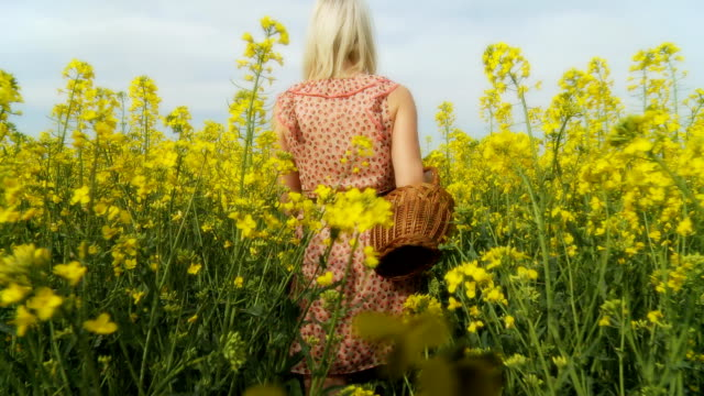 HD STEADY SHOT: Woman Walking Along Fields