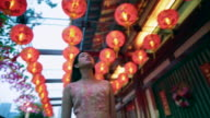 TS Woman walking down a street, under red lanterns, front view and rear view.