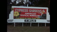 1954 HOME MOVIE Woman walking in grapefruit field / Grapefruit harvest / Tourist sign for Cypress Gardens / Winter Haven, Florida