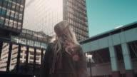Woman walking in urban setting