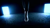woman walking into dark night