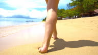 SLO MO Woman Walking On Tropical Beach