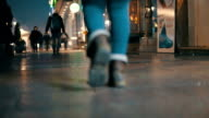 Woman walking - surface level view