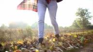 Woman walking through autumn leaves on ground