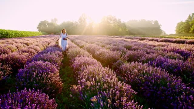 SLO MO Woman walking through field of lavender flowers