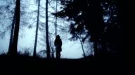 Frau zu Fuß durch den Wald