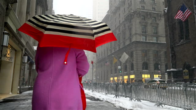 Woman walking via 5th Avenue in the mid 50's / After a day of 60 degree Fahrenheit temperature winter storm Niko hits the Northeast of the United...