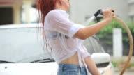Frau Waschen Auto