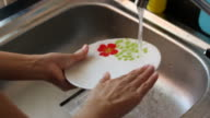 Woman washing dishes in her home