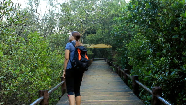 Woman with backpack walks along forest trail