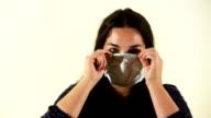 Woman with flu mask (HD)