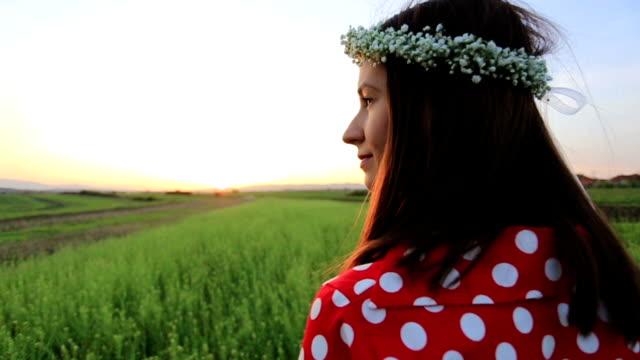 Woman with hair flower wreath
