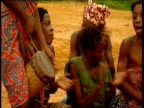 Women and children of Mokoko Babongo village dance with traditional headdress of leaves Mokoko Gabon