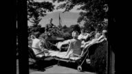 HD Women being greeted at Sunshine Terrace by Ann Robinson Ann talking w/ women about rest amp complete relaxation Women sitting in garden one...