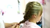 women braid hairstyle in beauty salon