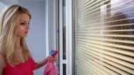 Women cleaning a window