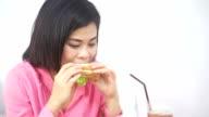 Women eating breakfast for breakfast in a cafe.