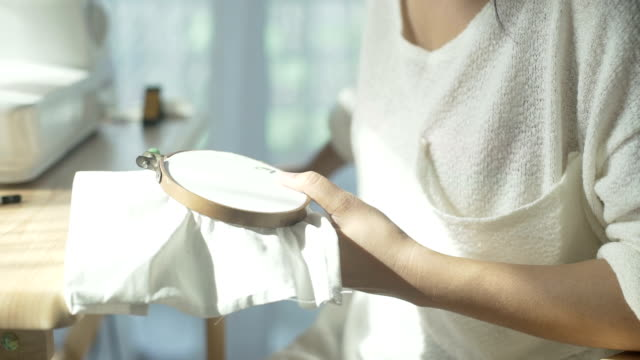 CU: Women enjoying cross-stitch in home