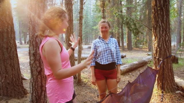 Women Having Fun Camping