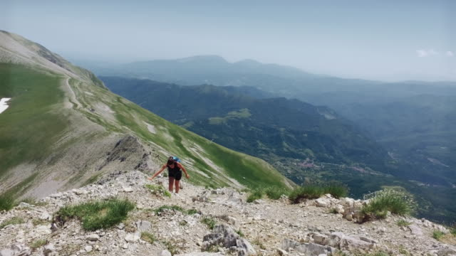 Women hiking in Italian Appennines mountains