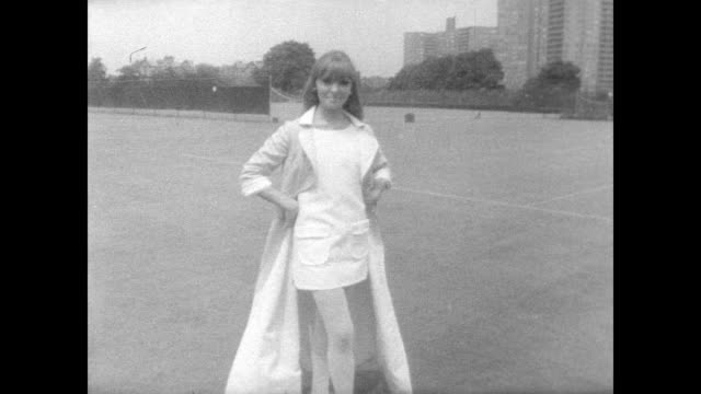 / women in fashionable tennis outfits pose for the camera at West Side Tennis Club / tennis star Gussie Moran acts as host and announcer / women...