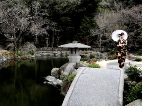 PAL: Women in kimono with umbrella (video)
