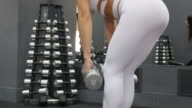 Women in Sport.  fitness woman training with dumbbells