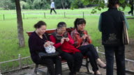 MS Women knitting in Park/xian,shaanxi,China
