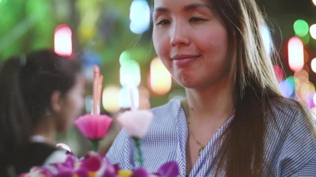 Women Praying, Loi Krathong Traditional Festival in Thailand