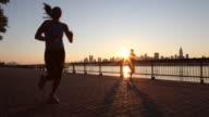 2 women running