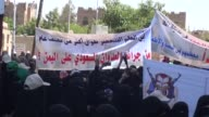 Women supporters of Ansarullah movement stage a demonstration in front of United Nations building and protest airstrikes of Saudiled coalitions in...