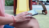 Women using digital tablet outdoors ,4k