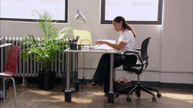 Women working at desk in loft office / New York City