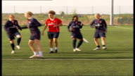 London EXT * * Music overlaid on the following shots SOT * * Arsenal Ladies football team running towards down football pitch Arsenal Ladies training...