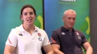 Women's England Rugby captain Sarah Hunter and team coach Simon Middleton speak at a press conference in Belfast ahead of the Women's Rugby World Cup...