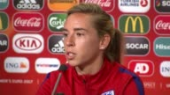Women's Euro 2017 England lose to Netherlands in semi final NETHERLANDS Enschede INT Jordan Nobbs press conference SOT/ Keith Nobbs along in England...