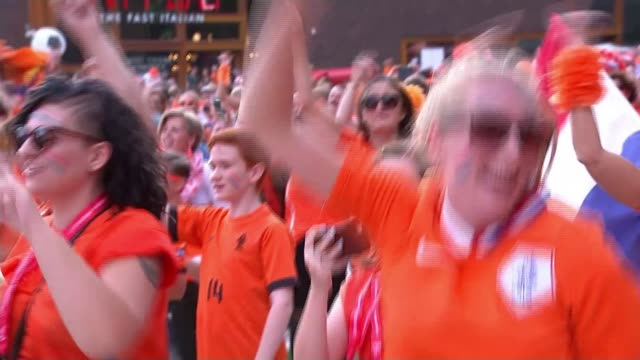Women's Euro 2017 England lose to Netherlands in semi final NETHERLANDS Enschede EXT Various of large crowds of Netherlands football fans singing and...
