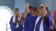 MS Women's gospel choir singing in church / Port Gamble, Washington State, USA