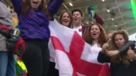 Women's Rugby World Cup Final New Zealand beat England Group of England fans cheering SOT Group of England fans cheering