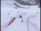 Women's ski cross race won by Sasa Faric two competitors crash into each other and tumble to the ground 2004 Freestyle FIS World Cup SaasFee Valais...